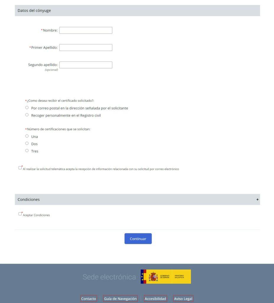 Formulario de solicitud del acta de matrimonio en la web del registro civil